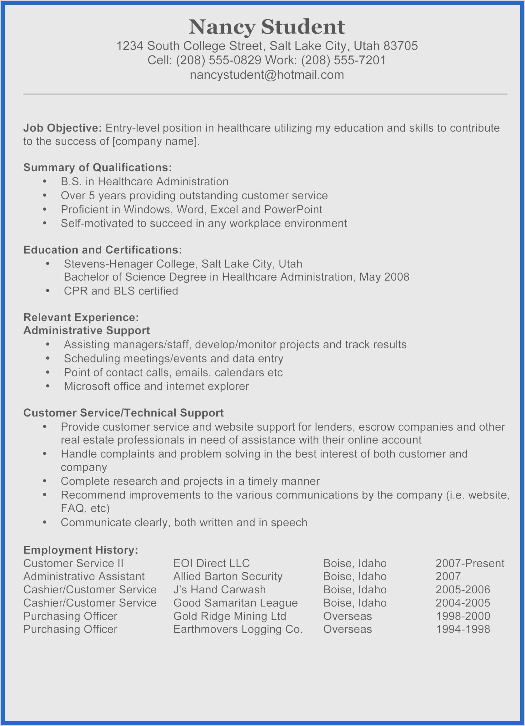 Cv format for Job Abroad Sample Resume for Education Field Valid Good Resume