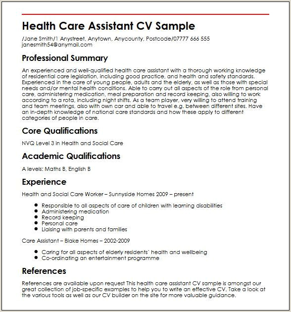 Cv Format For Job Application In Kenya Cv Template Healthcare