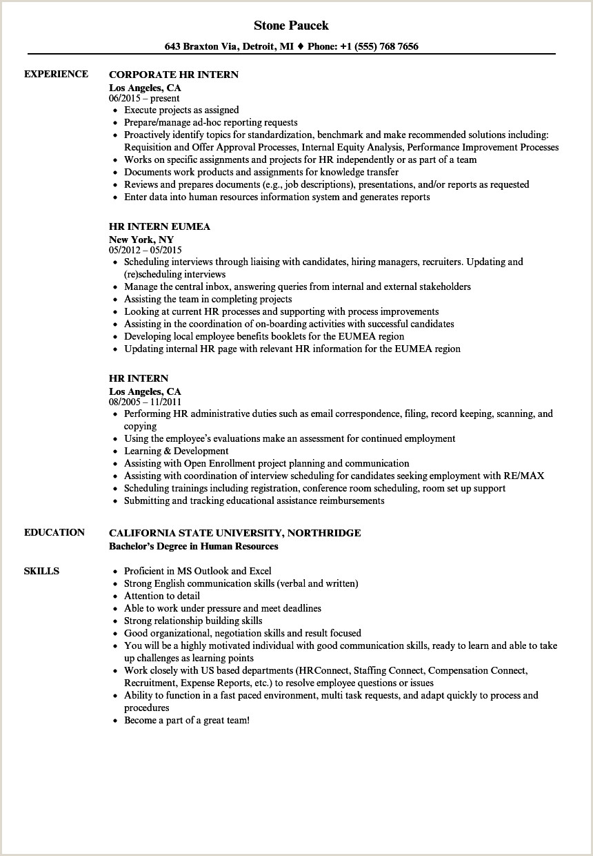 Cv Format For Job Application In Kenya Hr Intern Resume Samples