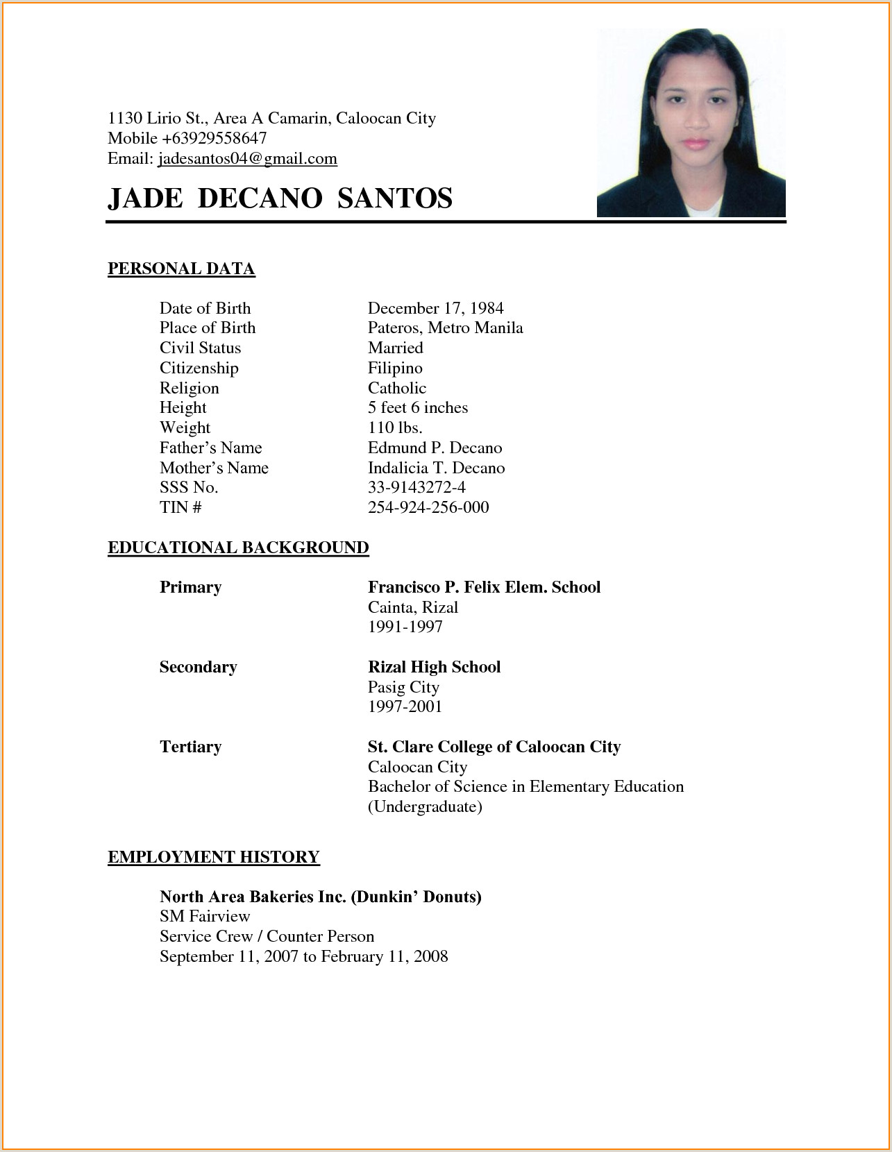 Cv Format For Job Application Pdf Resume Examples Philippines Resume Ixiplay Free Resume