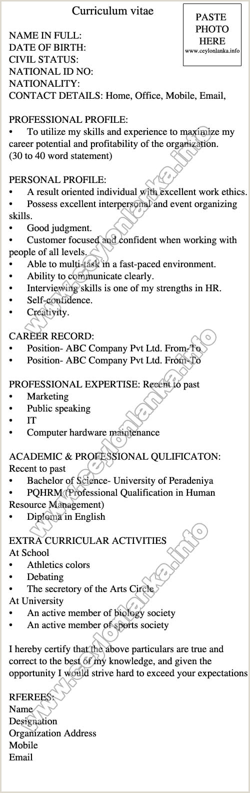 Cv format for Job Application Sri Lanka by Congress Latest Cv format for Job Application In
