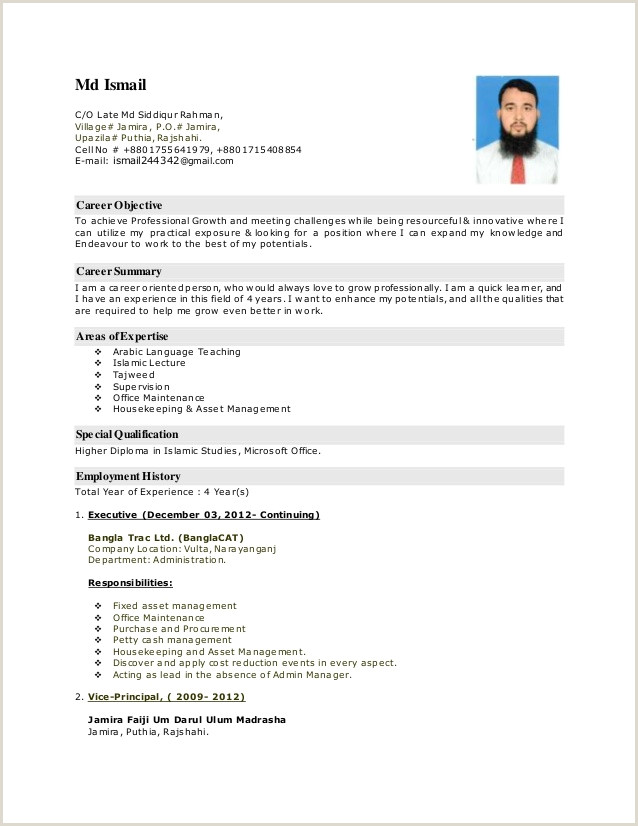 Cv format for Job Bd Md ismail for Madrasha Cv