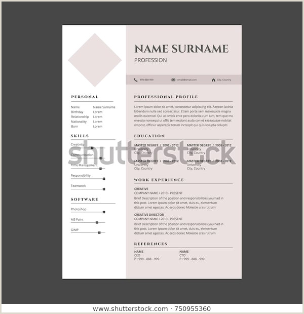 Cv format for Job Description Image Vectorielle De Stock De Minimal Simple Elegant Resume