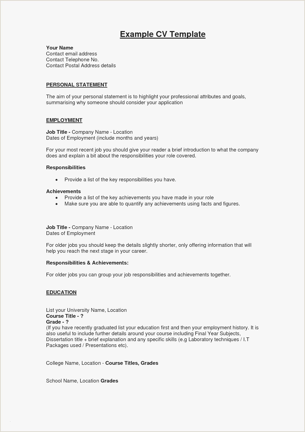 Cv format for Job Description New What Should Be A Resume