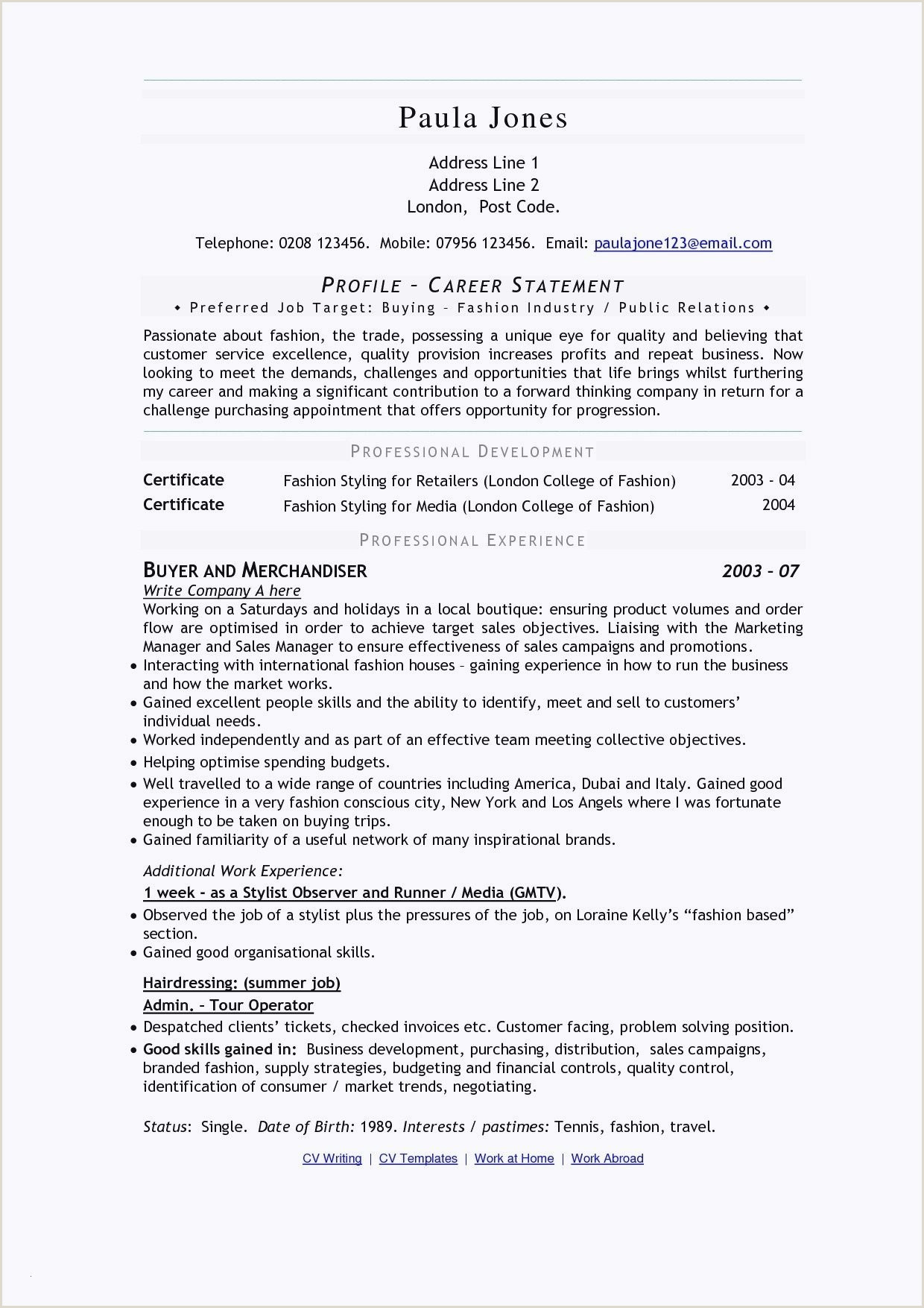 Cv format for Job Download Summer Job Resume Free Cv Versus Resume Awesome Nanny