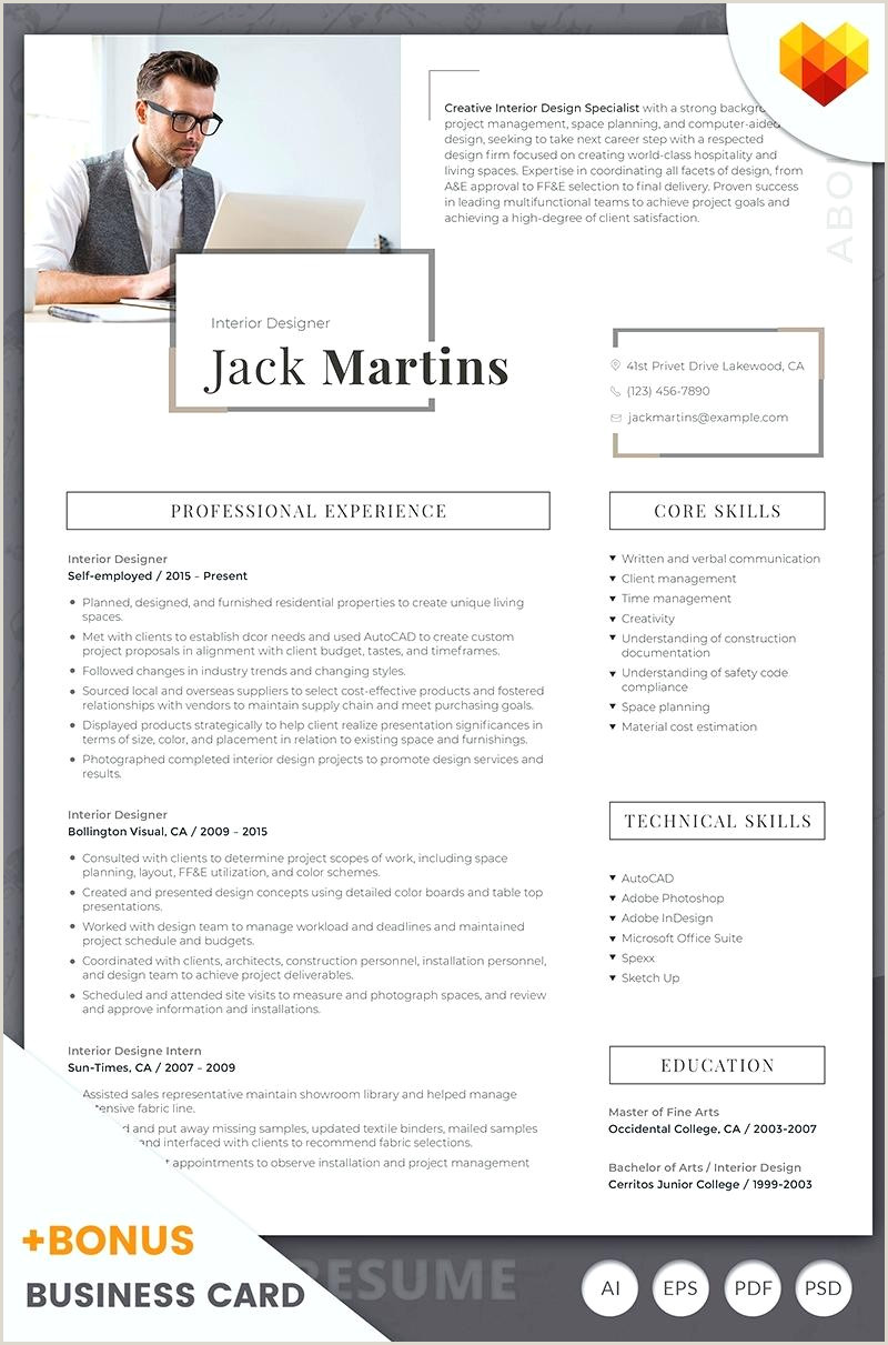 Cv format for Job for Freshers Interior Designer Resumes Jack Martins Resume Template Big