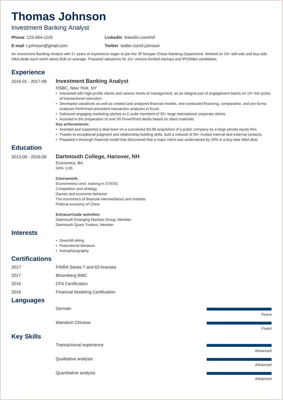 Cv format for Job for Freshers Investment Banking Resume Sample and Writing Guide [20