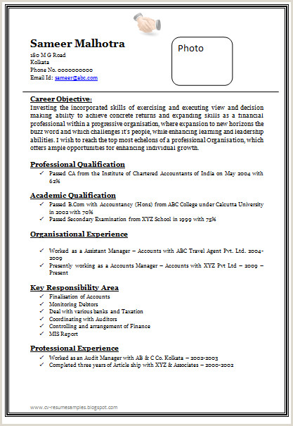 Image result for resume format for experienced free