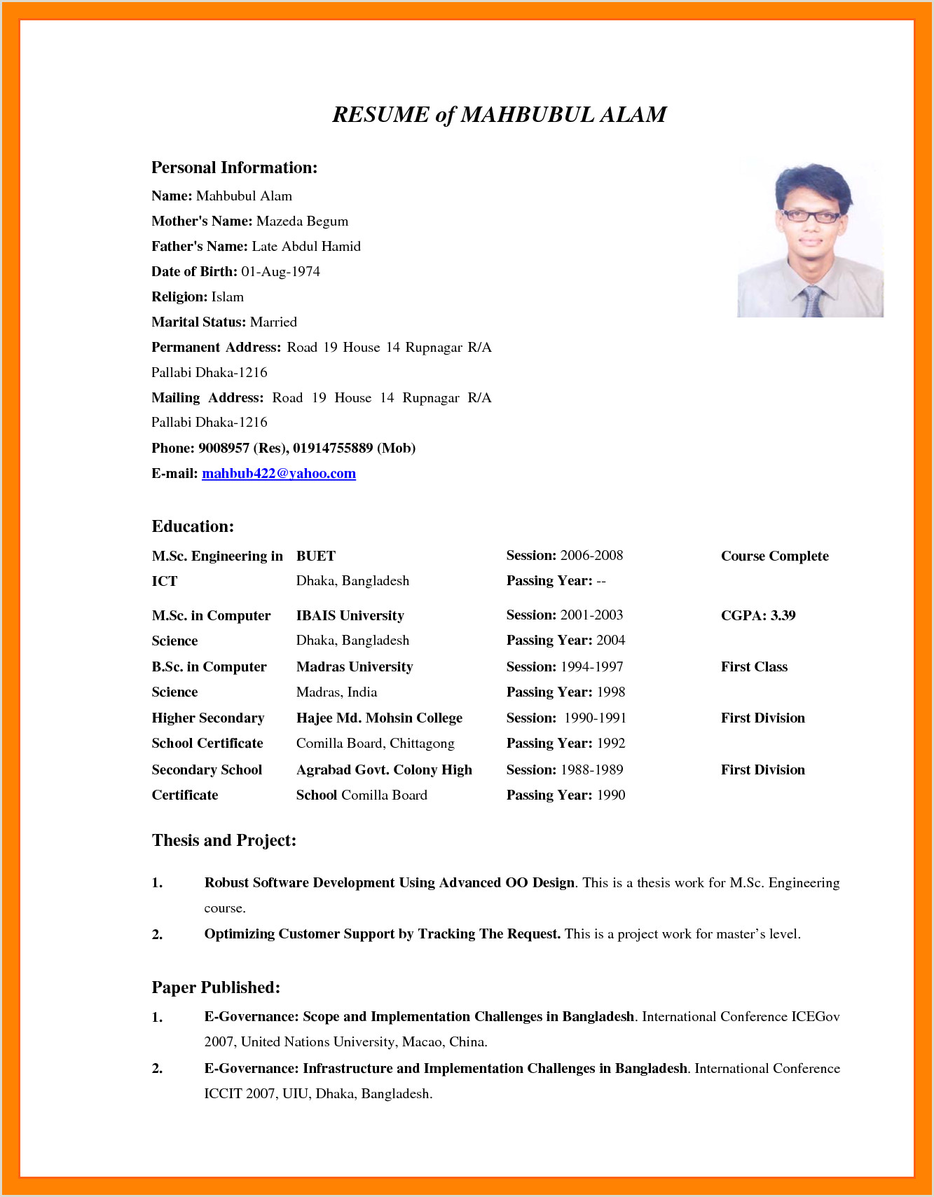 Cv format for Job In Bangladesh Pdf by Congress Bangladesh Job Cv format Pdf
