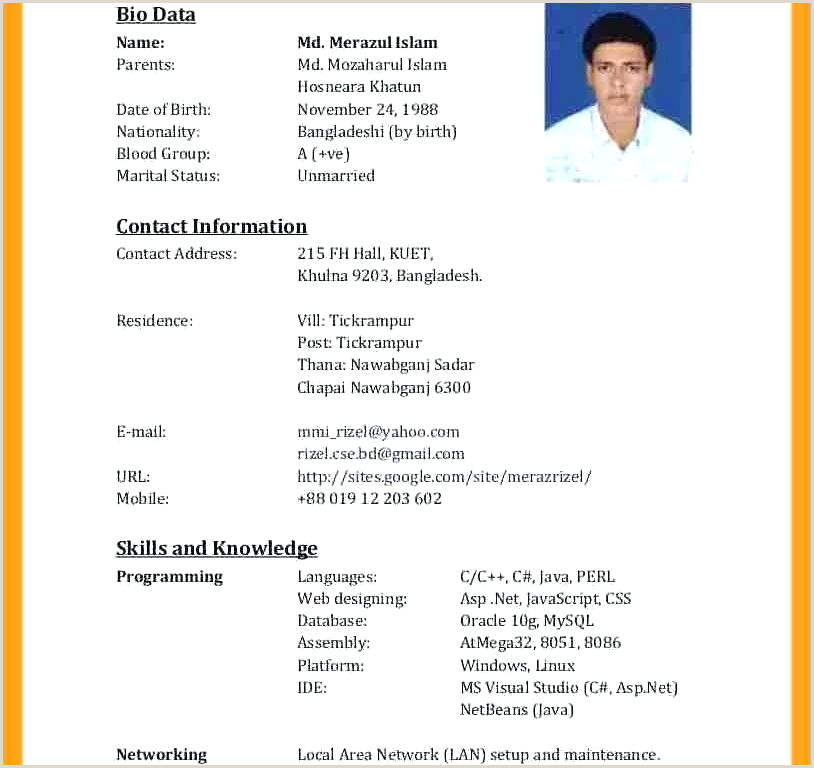 Cv format for Job In Bangladesh Pdf Download Curriculum Vitae Template Pdf