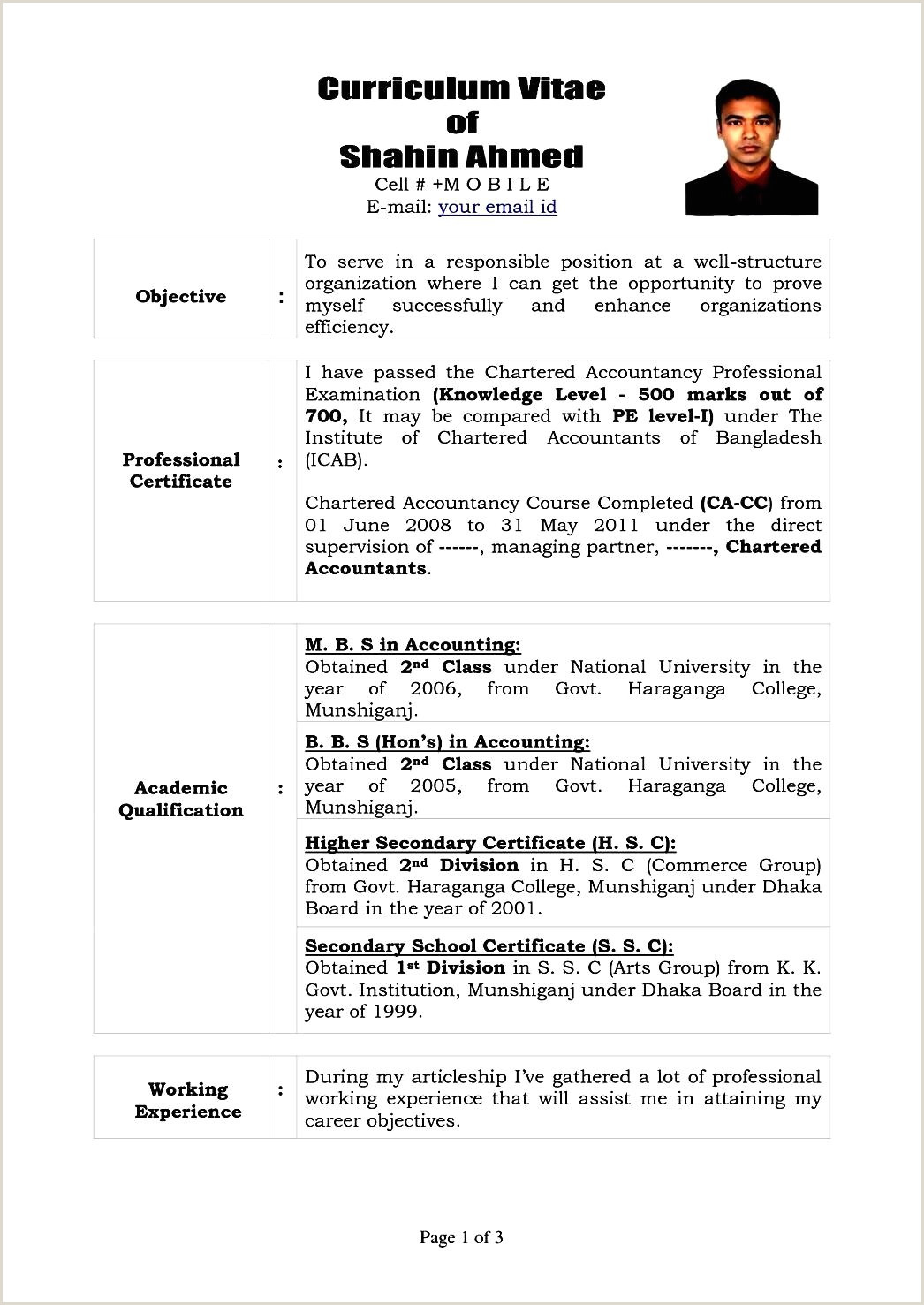 Cv format for Job In Bangladesh Pdf Resume Curriculum Vitae Template Best Clean Resume Cv