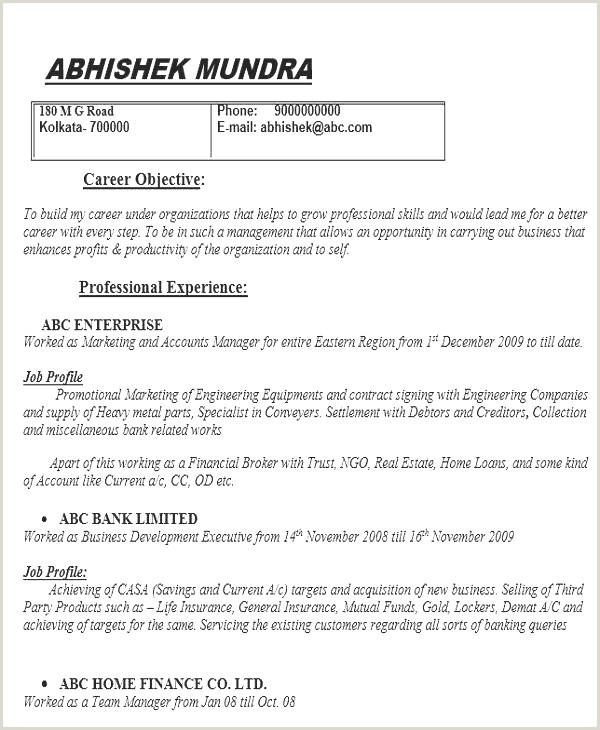 Cv Format For Job In Bank Cv Format Paysage Exemple Cover Letter Sample Job
