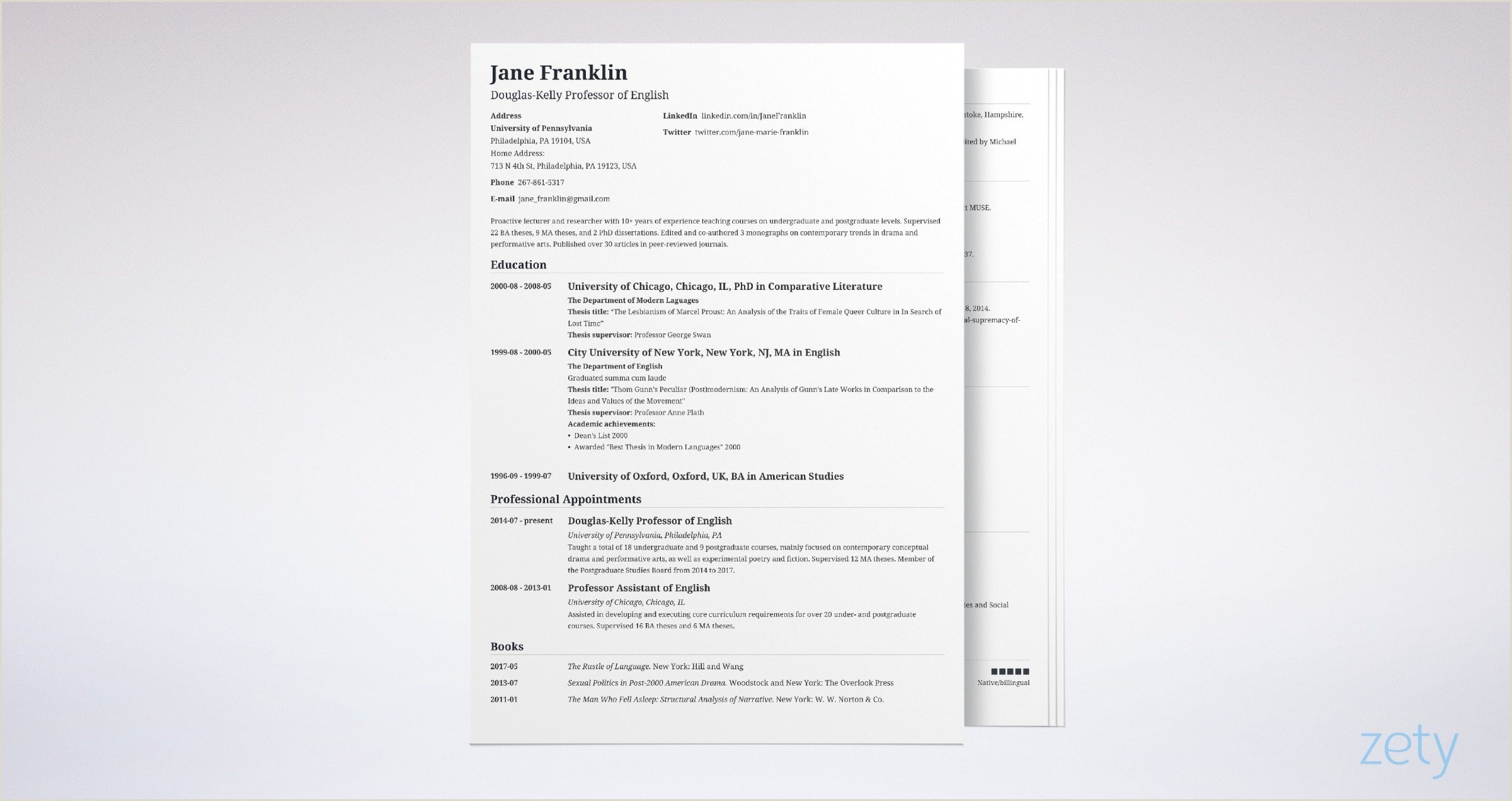 Cv format for Job In Educational Institutions Academic Cv Example Template & Writing Guide [with 20
