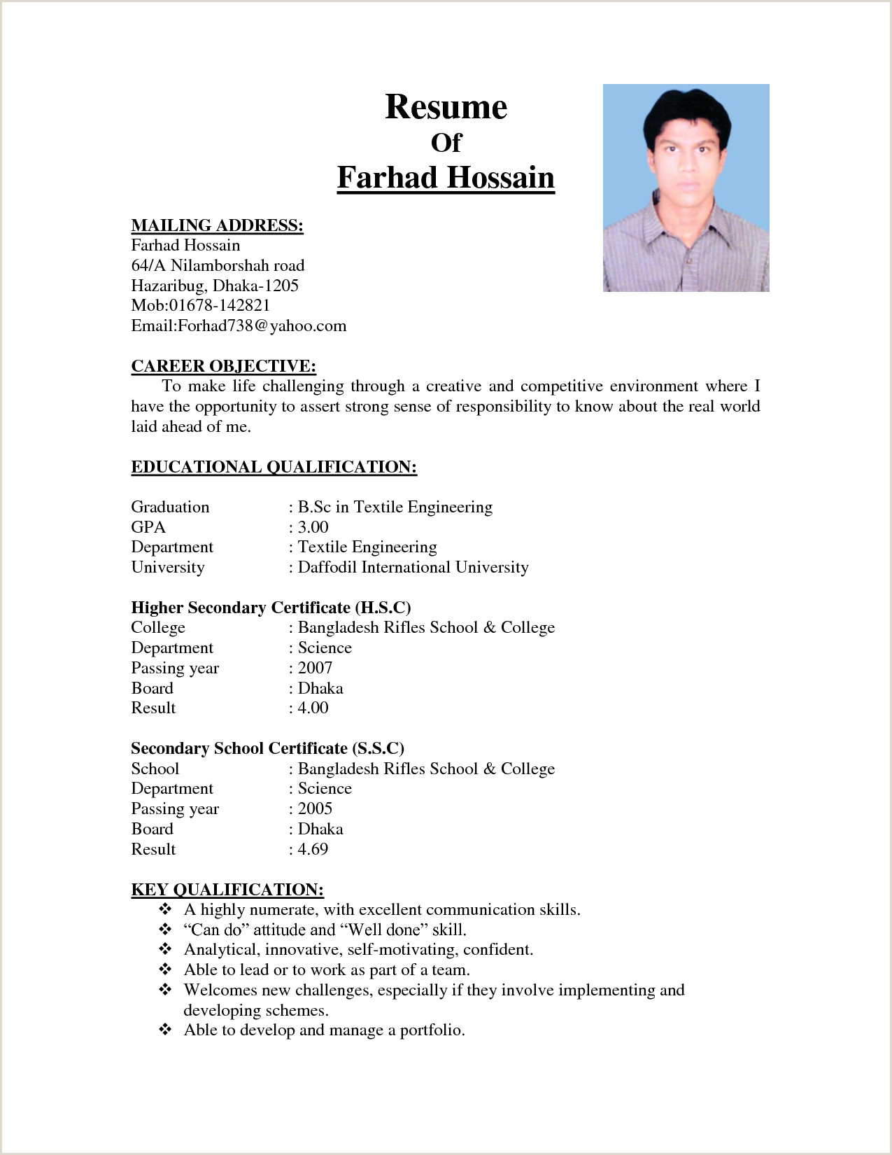 Cv format for Job In Educational Institutions Cv Template Bangladesh Cv format