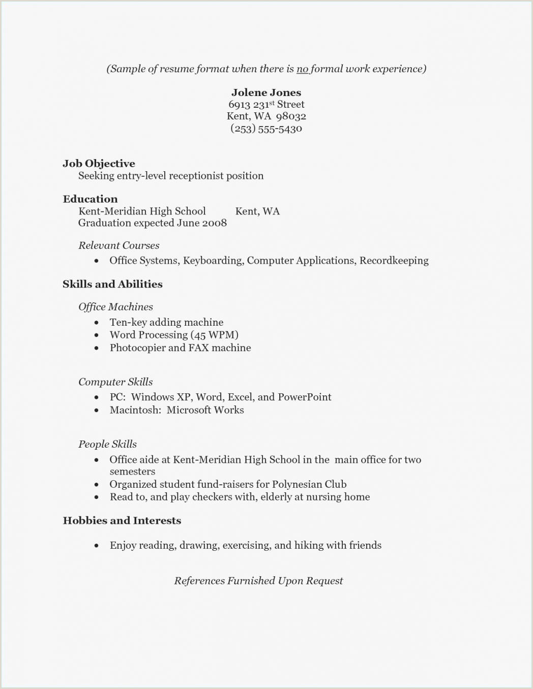 Cv Format For Job In Excel Resume For Receptionist With No Experience Unique Nanny