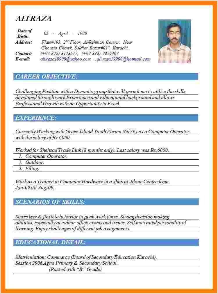 Cv Format For Job In Karachi 9 10 Cv Format On Word