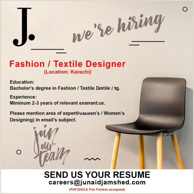 Cv Format For Job In Karachi Junaid Jamshed Jobs 25 April 2019 Fashion Textile Designer
