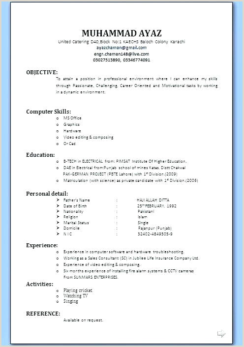 Cv format for Job In Karachi Resume Templates Download Job Application Sample format