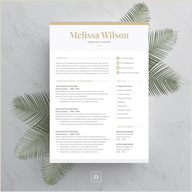 Cv format for Job In Ms Word Resume Template 4 Page Cv Template Cover Letter for Ms Word Instant Digital Download