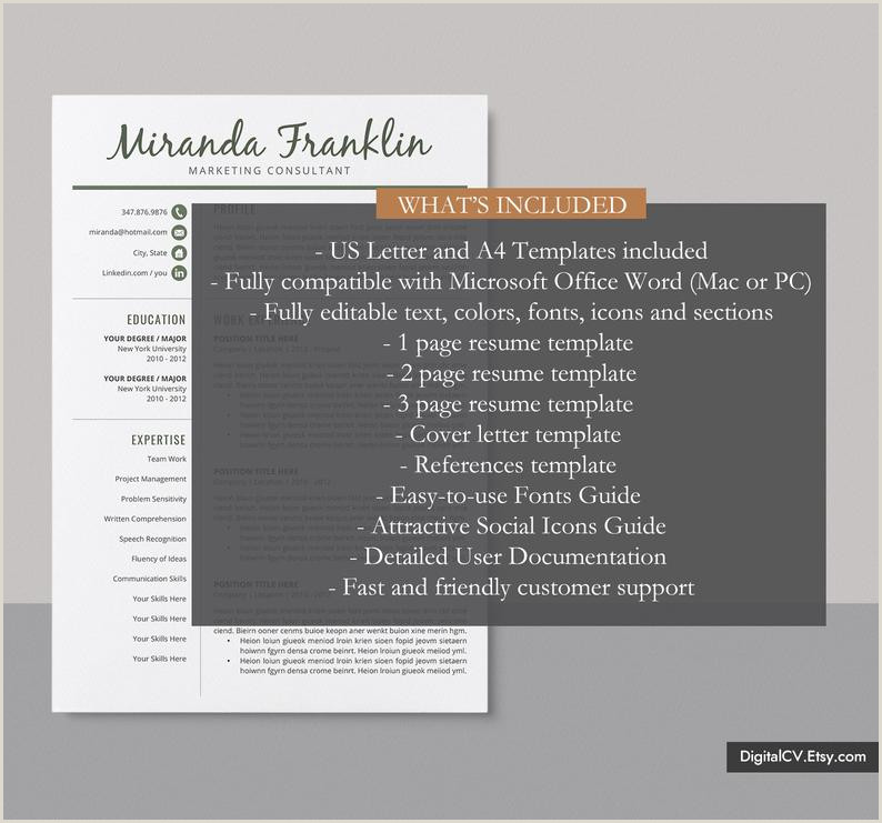 2019 Simple Resume Template Job Resume Professional CV Template Design Cover Letter MS Word Resume Instant Download The Miranda