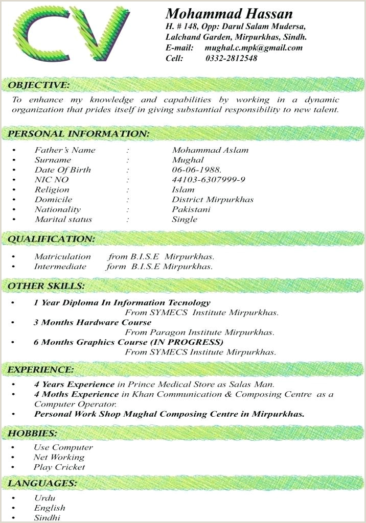 Cv format for Job In Pakistan Pdf Resume Cv format – Paknts