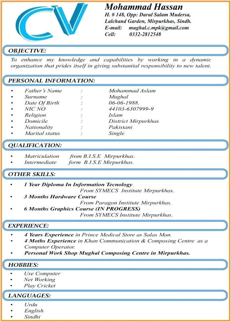 Cv format for Job In Urdu Free Resume Template Great Cv Templates Word Best format