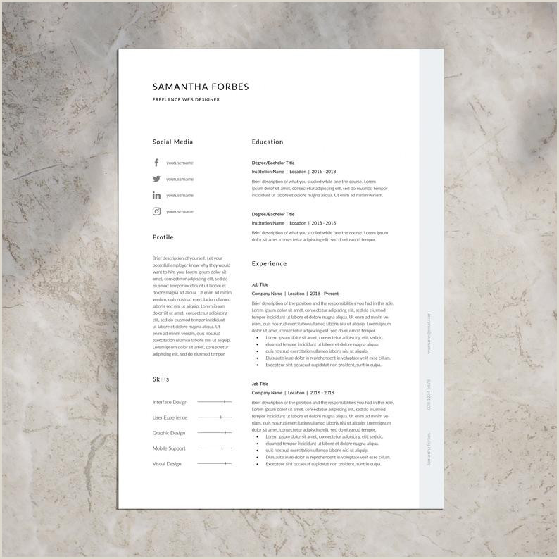 CV Template Resume Template Professional Resume Template CV Template Word InDesign CV Cover Letter Instant Download