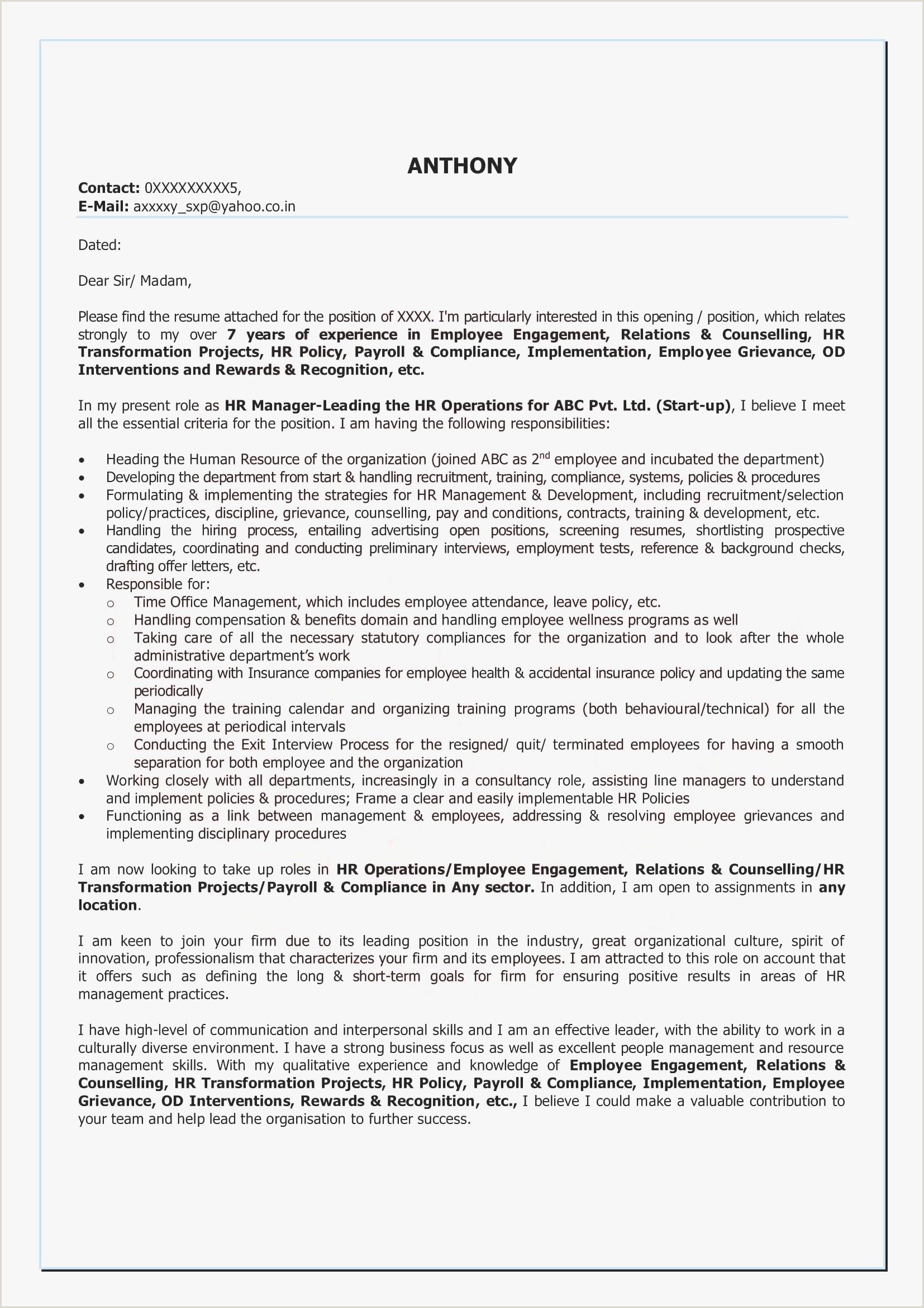Curriculum Vitae Sample In Pdf Valid Resume Cover Letter