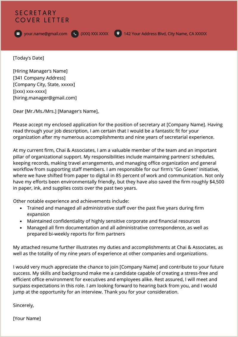 Cv format for Job Interview Pdf Secretary Cover Letter Example