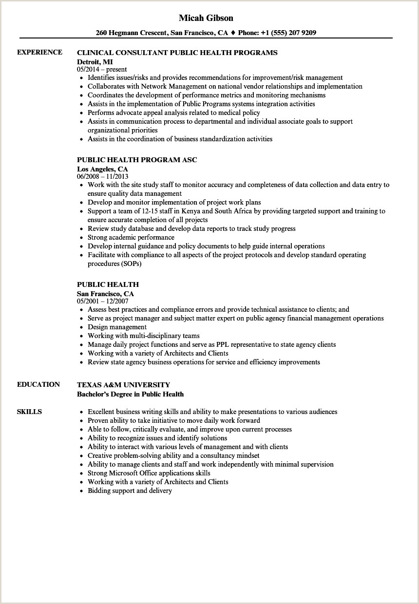 Cv format for Job Kenya Public Health Resume Samples