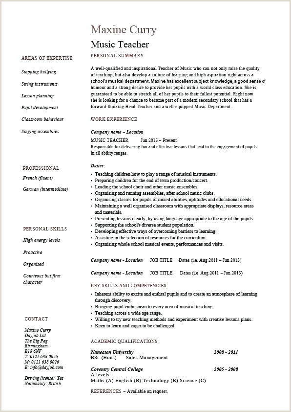 Cv format for Job Of Teacher Education Cv Template