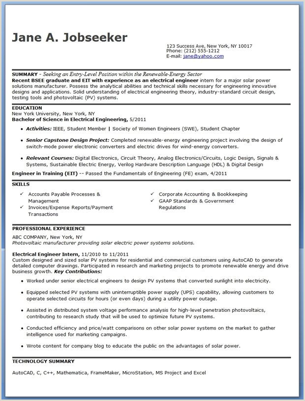 Cv format for Job Pdf Electrical Engineer Resume Sample Pdf Entry Level