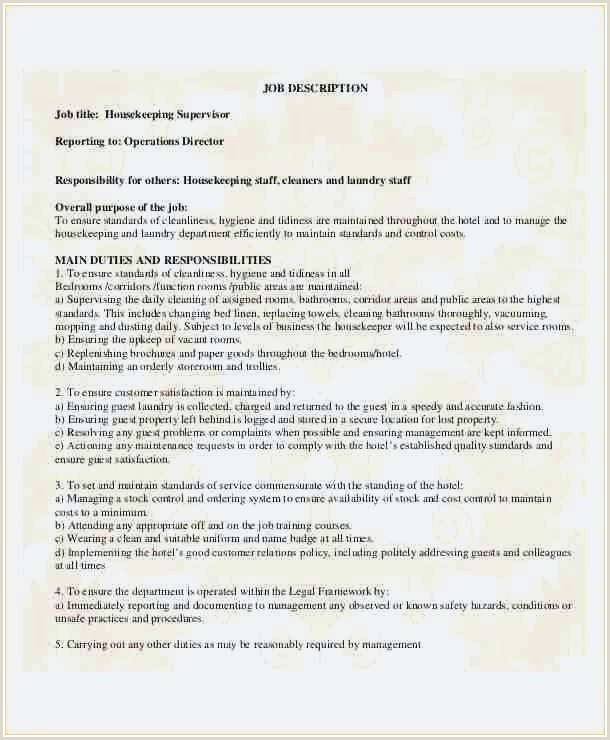 Cv format for Job Purpose Hotel Housekeeping Job Description for Resume Professional