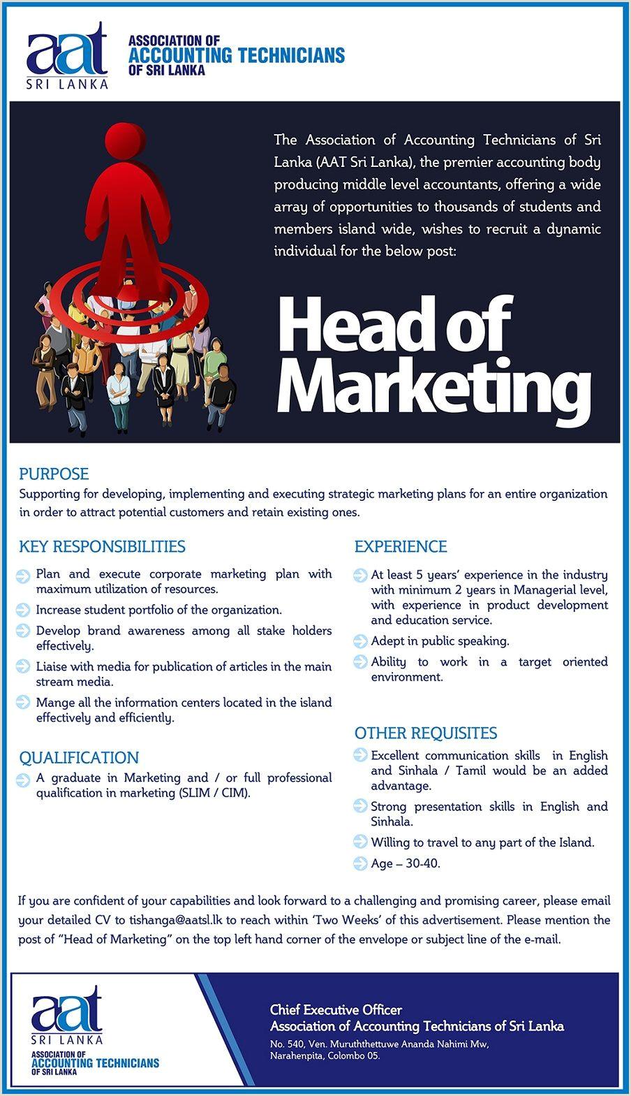 Cv Format For Job Sinhala Head Of Marketing At Association Of Accounting Technicians