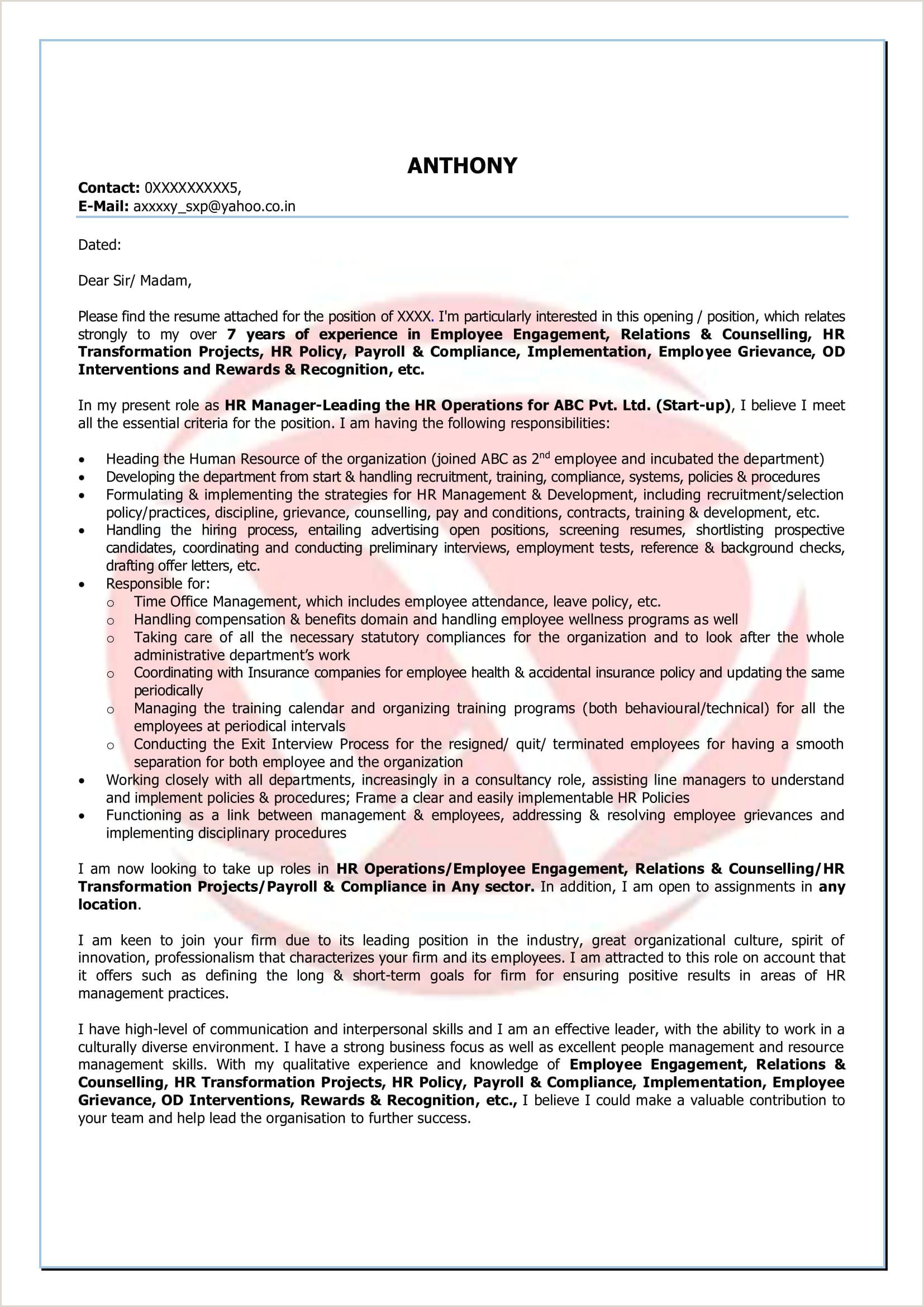 Hr Sample Cover Letter Format Download Cover Letter Format