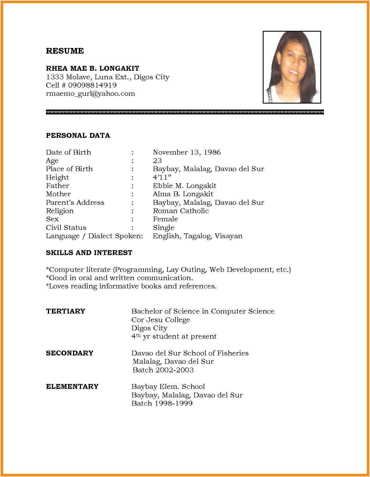 Cv Format For Job Word File Marriage Resume Format Word File Inspirational Biodata 2