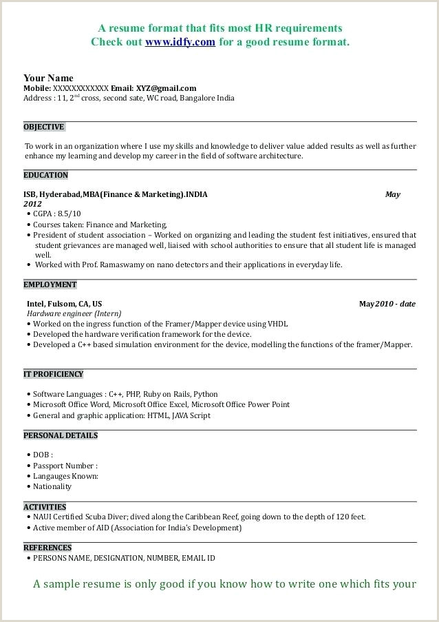 Cv format for Mba Job Freshers Resume Samples – Growthnotes