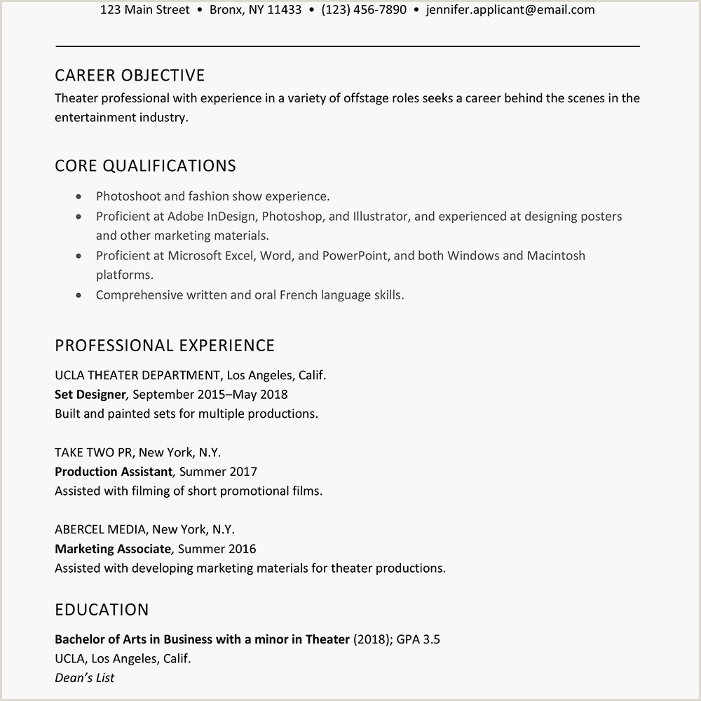 Cv format for New Job A Good Sample theater Resume