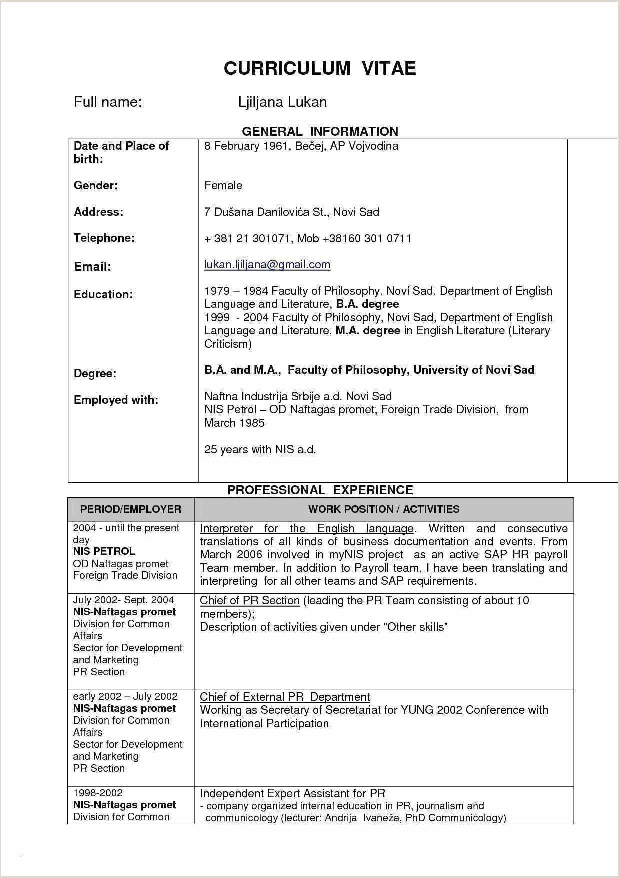 Cv format for Overseas Jobs Fresh Sample Resume for Abroad Job