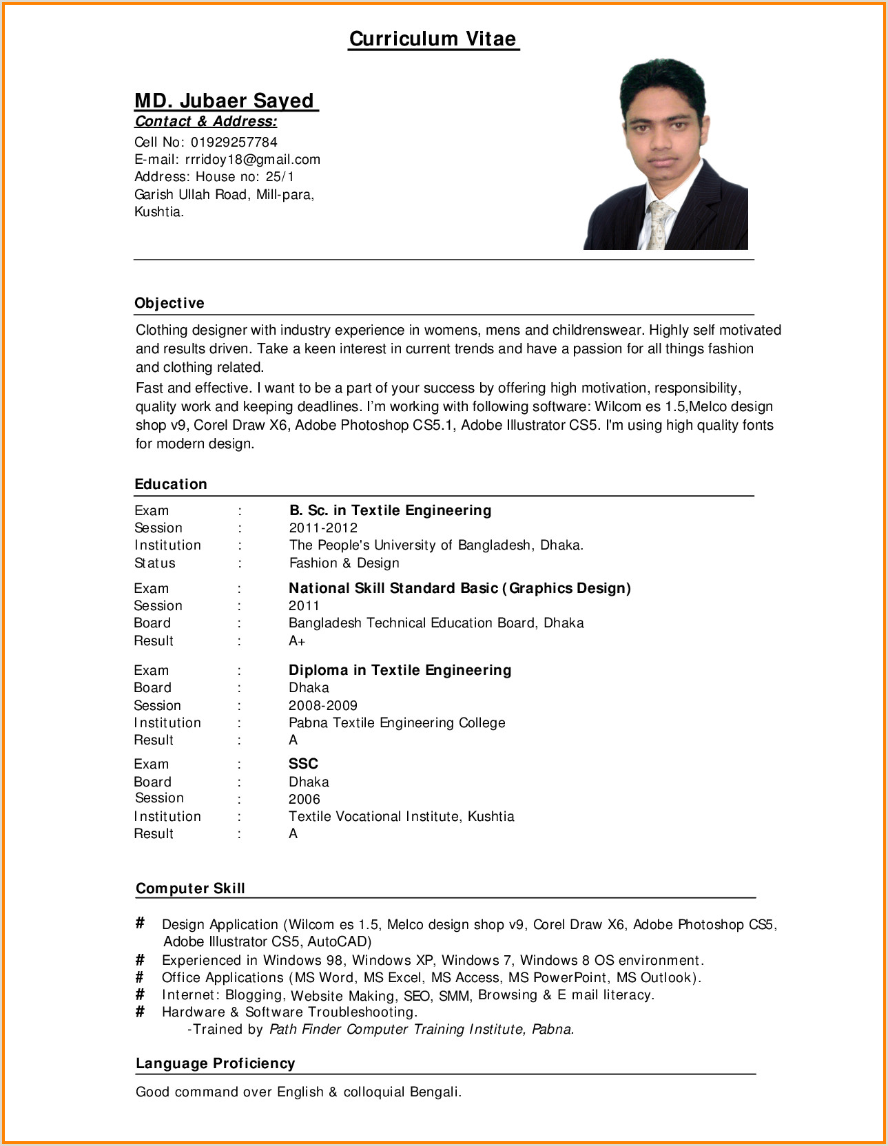 Cv format for Overseas Jobs Standard Cv format Bangladesh Professional Resumes Sample