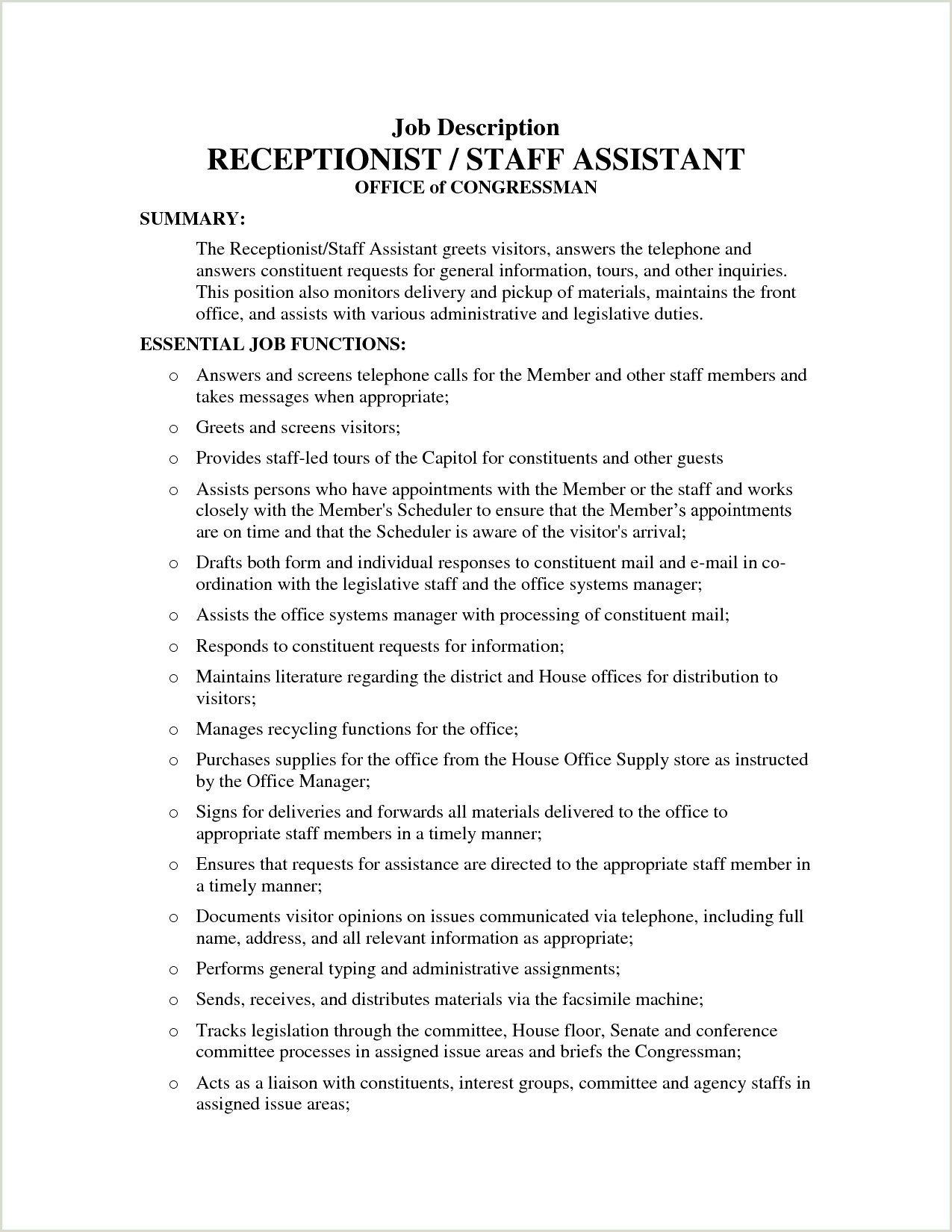 Cv format for Receptionist Job Reception Job Description Resume Best Resume Samples for