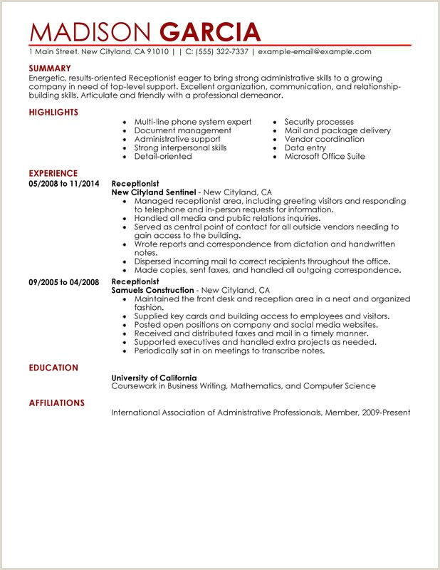 Cv format for Receptionist Job Resume Examples for Receptionist Jobs Floss Papers