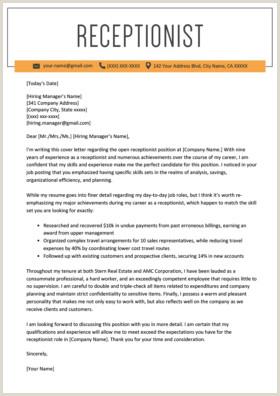 Cv format for Receptionist Job Secretary Cover Letter Example