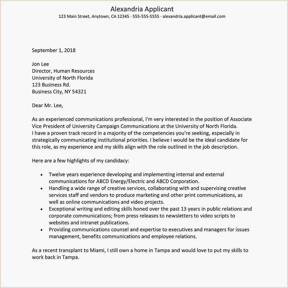 Cover Letter Examples Higher Education munications
