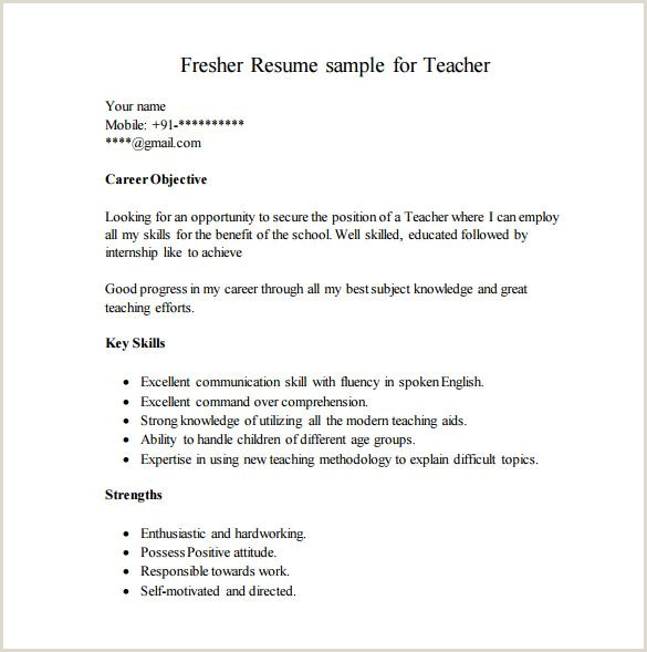 Cv format for School Job Career Objective for Resume for Fresher Teacher