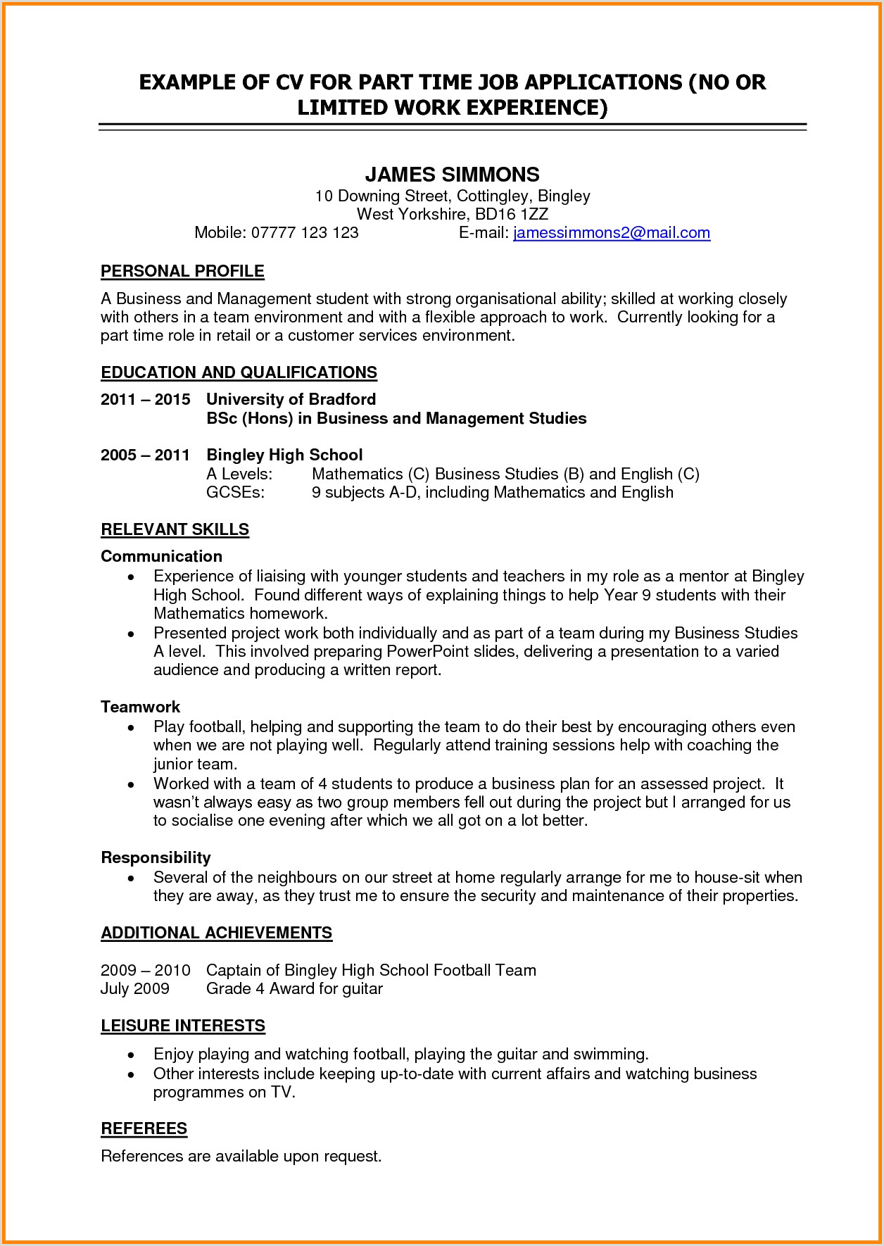 Cv format for School Job Cv Template Student Job