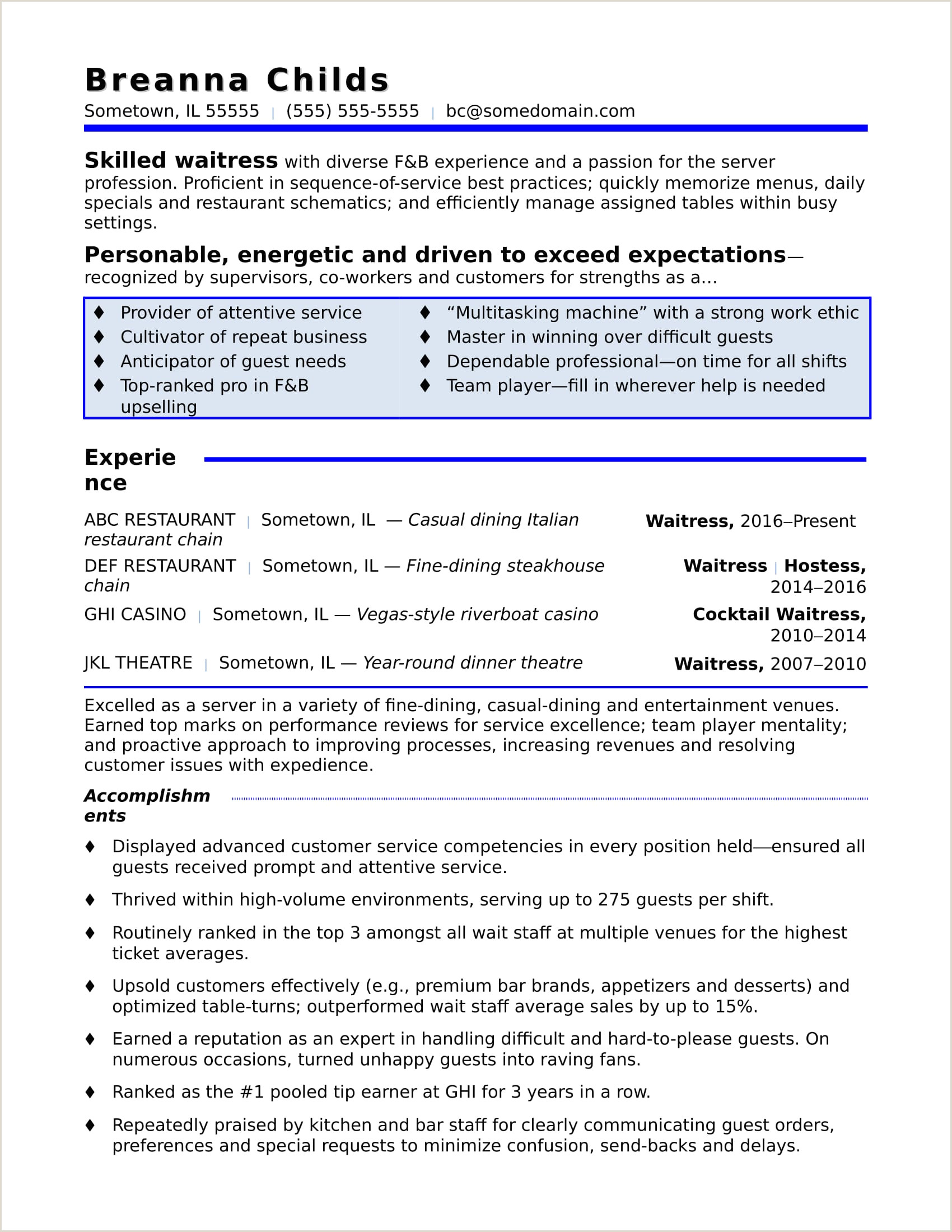 Cv format for School Job Waitress Resume Sample