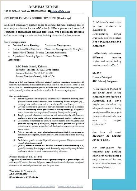 Cv format for School Teacher Job Pdf Education Cv Template