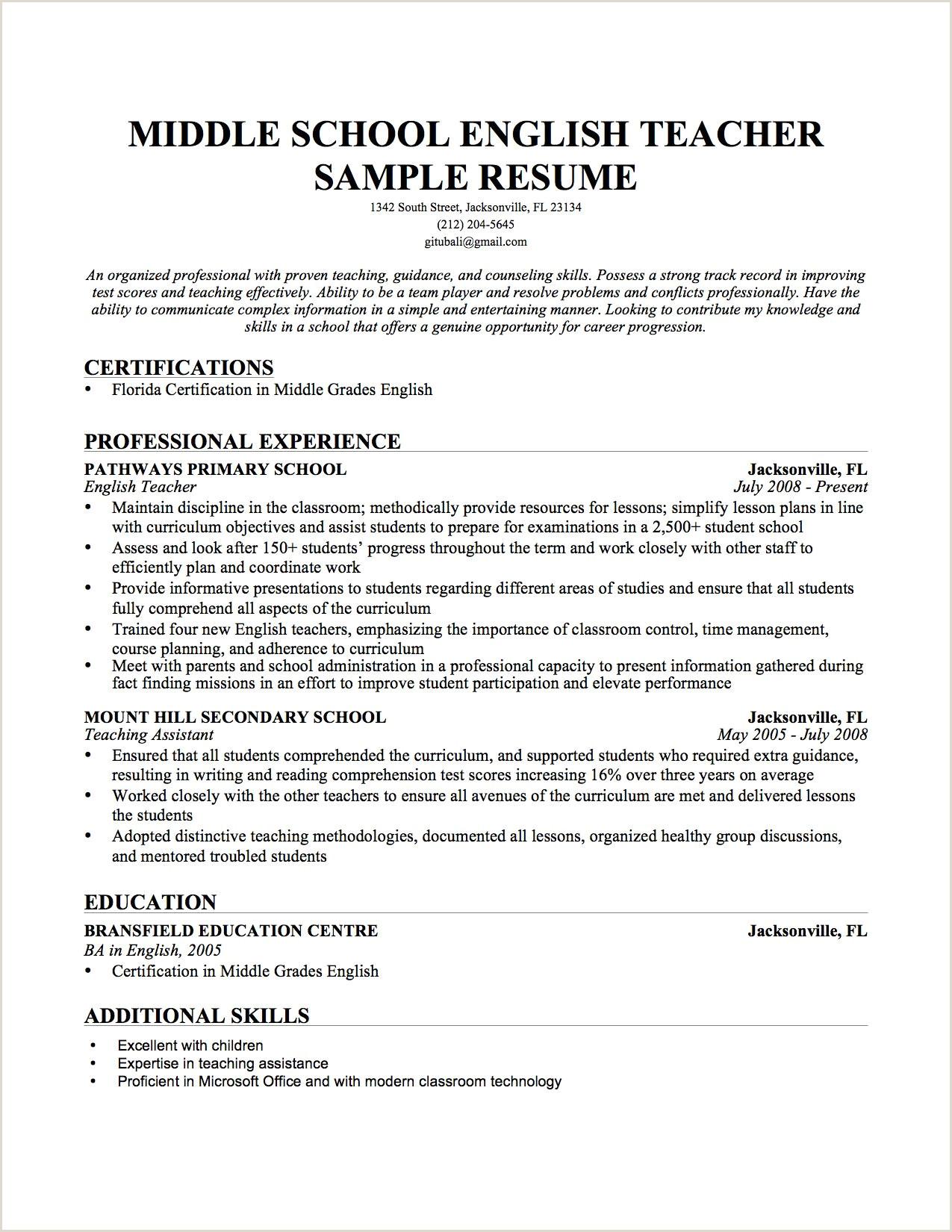 Resume English Template Teacher Sample Pdf Cv Doc Modern