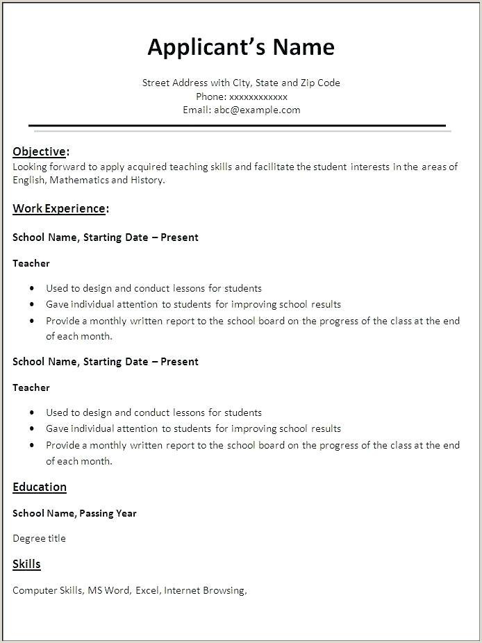 Cv format for School Teacher Job Pdf Work Resume format – Airexpresscarrier